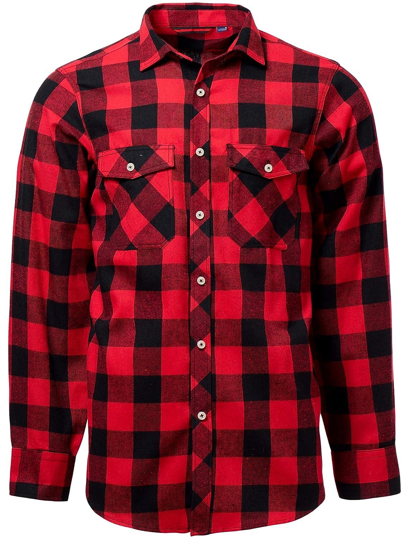 J Hombre Camisas Casuales Ajuste Regular Algodón Manga Larga Camisas a Cuadros Estudiante
