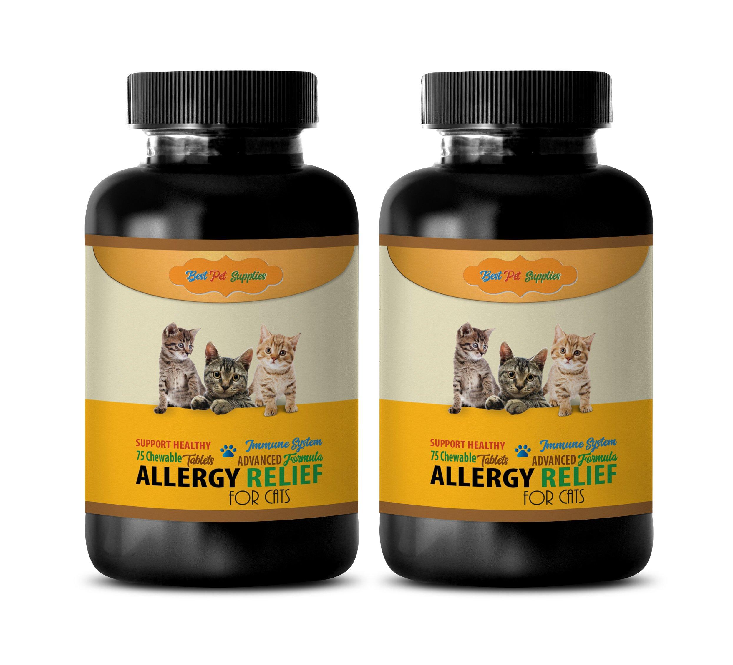 BEST PET SUPPLIES LLC cat allergen reducer - HEALTHY ALLERGY RELIEF - FOR CATS - ADVANCED IMMUNE SUPPORT FORMULA - CHEWABLE - cat immune system boost - 150 Chews (2 Bottle) by BEST PET SUPPLIES LLC