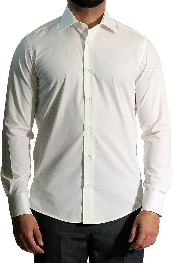 MMUGA - Camisa de Manga Larga para Hombre, Entallada Beige XXXL: Amazon.es: Ropa y accesorios