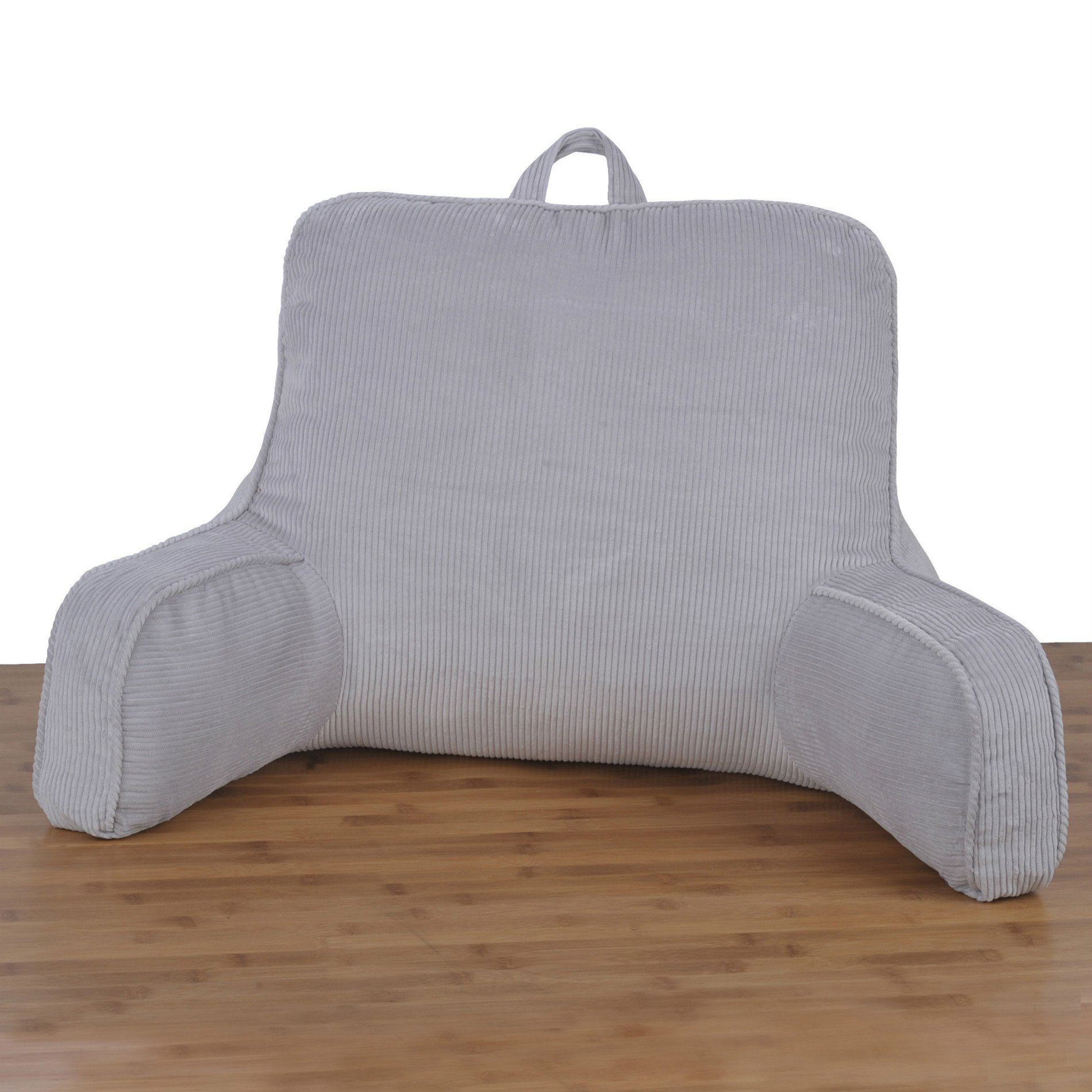 Home Soft Things Serenta Cotton Corduroy Bedrest Lounger Backrest with DIY Filling, Silver, 20'' x 18'' x 17'' by Home Soft Things
