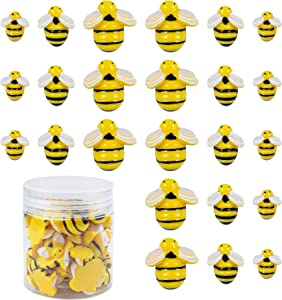 AUEAR, 45 Pack Tiny Resin Yellow Bumble Bee Decor Cabochons Flat Back Bumblebee Animals Craft Embellishment for DIY Craft Party Home Decor with Storage Box