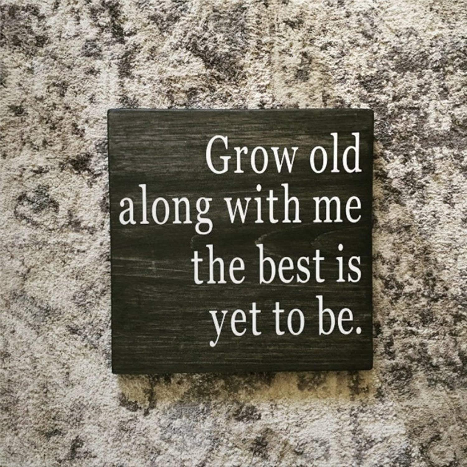 DONL9BAUER Grow Old Along with Me The Best is Yet to Be Wood Sign,Bedroom Wedding Rustic Style Wood Wall Decor Sign, Farmhouse Wooden Plaque Art for Home,Gardens, Porch, Gallery Wall, Coffee Shops.