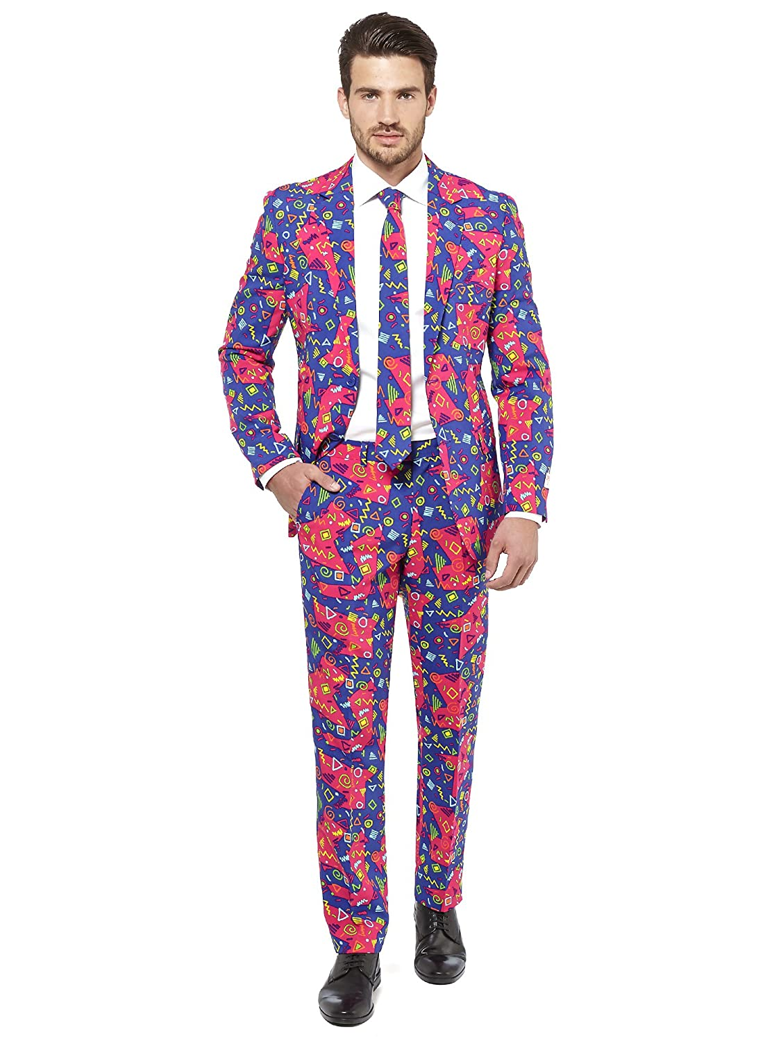 Opposuits The Fresh Prince Suit for Men Comes with Jacket, Pants and Tie in Funny Colorful Vintage 90s Print - 100% Money Back Guarantee: Amazon.co.uk: ...