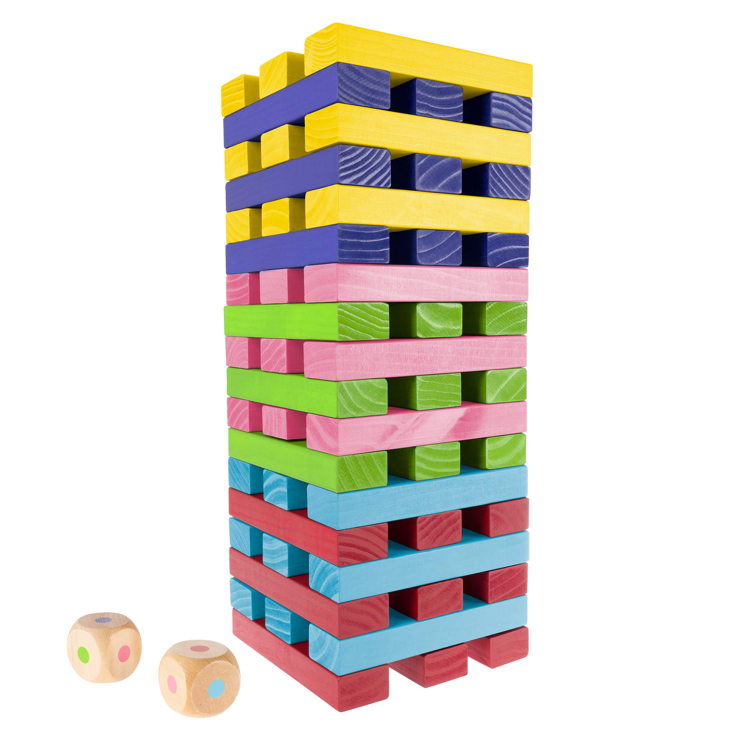 Hey! Play! Nontraditional Giant Wooden Blocks Tower Stacking Game with Dice, Outdoor Yd Game, for Adults, Kids, Boys & Girls (Rainbow Color)