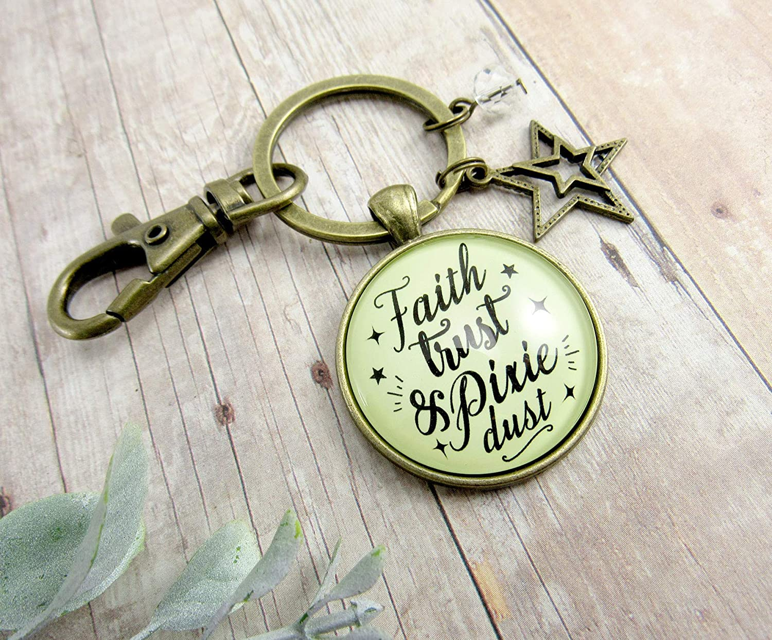 Faith Trust And Pixie Dust Fairy Tale Keychain Whimsical Jewelry Glass Round Retro Style Bronze Pendant Starburst Charm