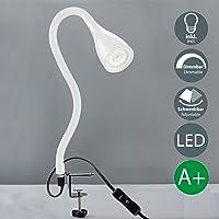 Flexo con pinza led incl. 1 GU10 5 W 400 lm luz para la cama regulable con 3 niveles de intensidad cuello largo flexible 360° lámpara de lectura para dormitorio oficina metal plástico