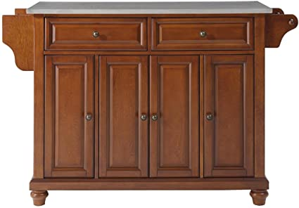 Crosley Furniture Cambridge Kitchen Island With Stainless Steel Top    Classic Cherry