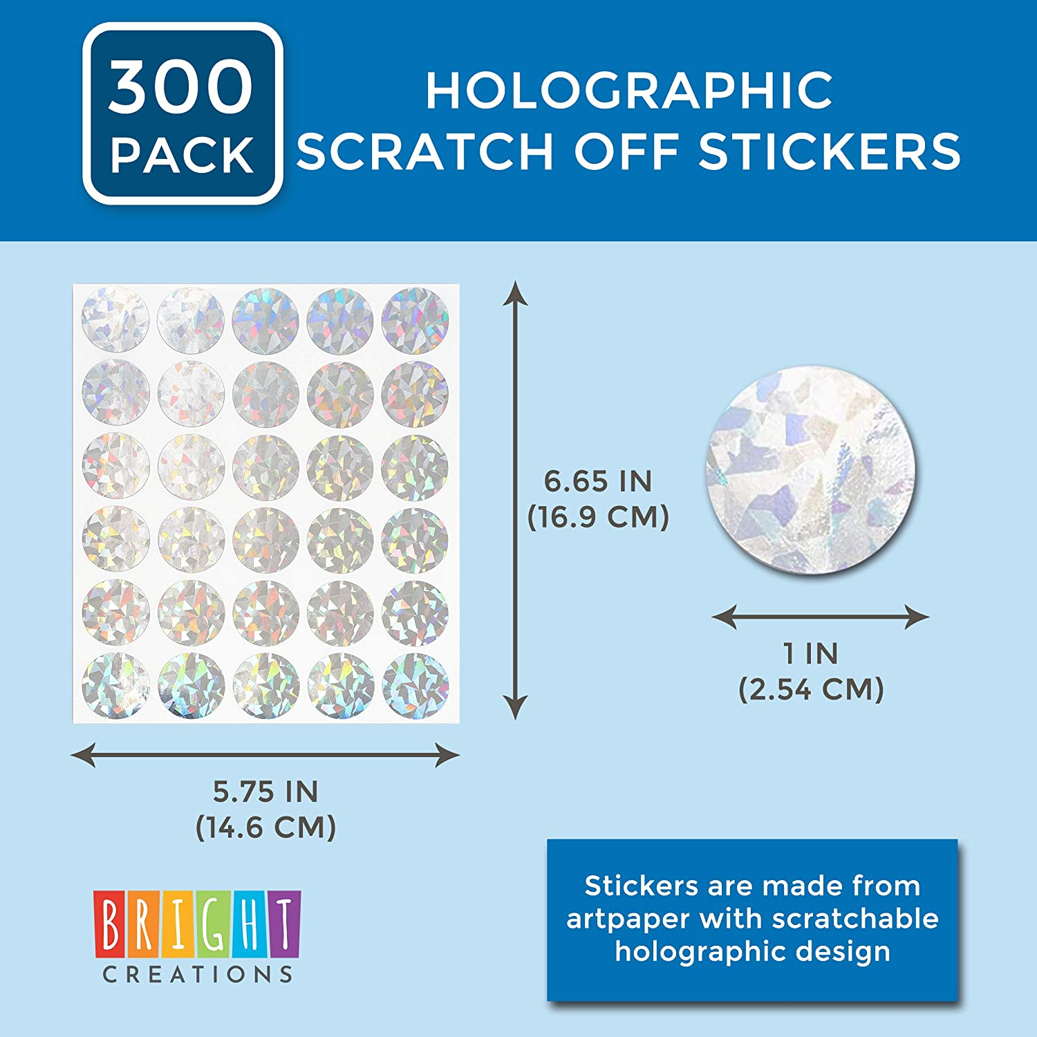 300 Pack,1 in. Bright Creations Holographic Scratch Off Stickers