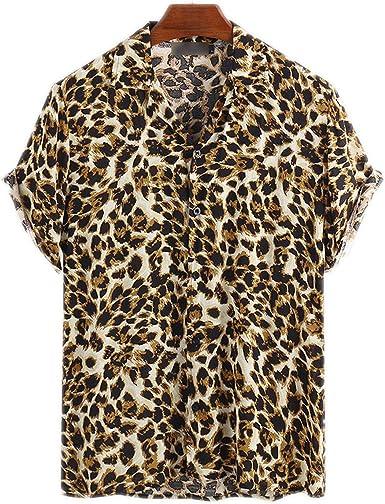 Outwears Moda Camisa De Los Hombres De Impresión De Leopardo ...