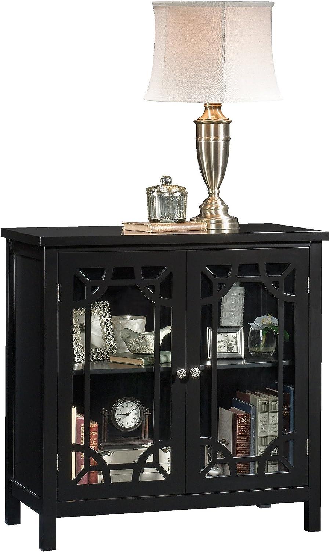 Sauder Palladia Display Cabinet, Black finish