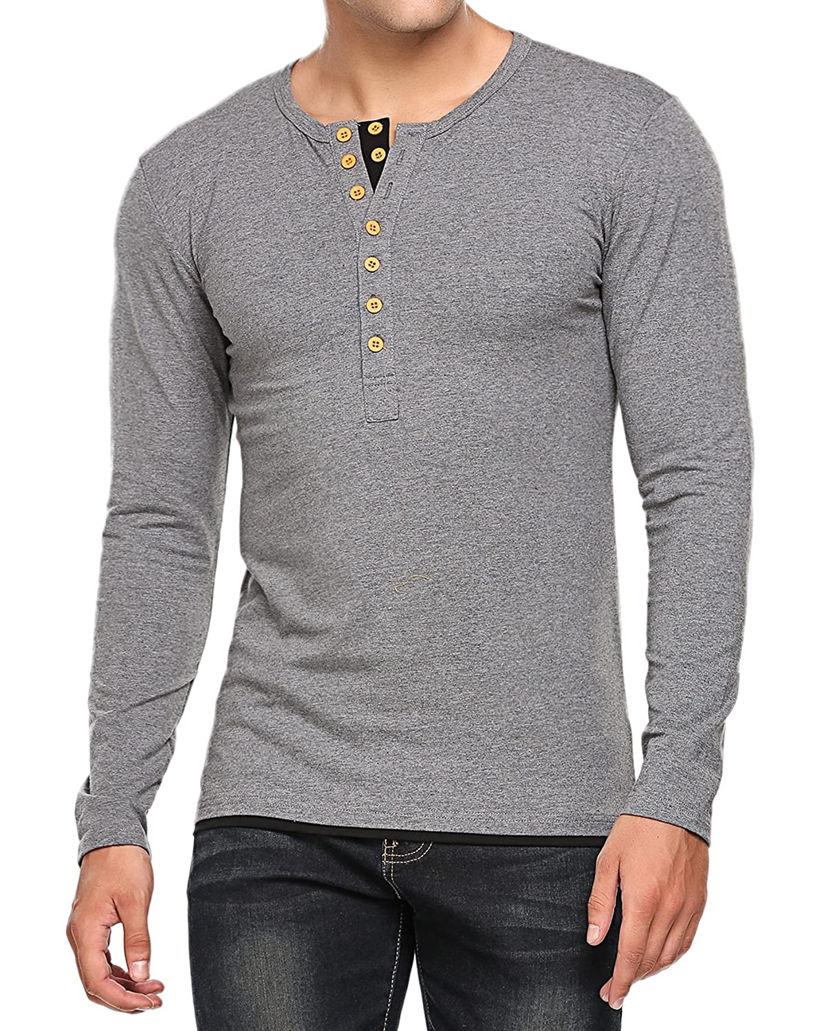 HOTOUCH Mens Henley Shirt Long Sleeve Slim Fit Button Up Cotton Casual Shirts AHJ005023