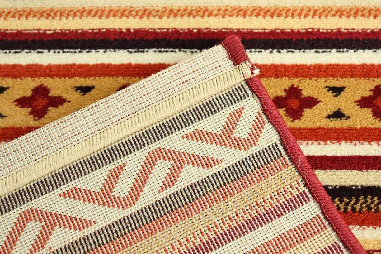 サヤンサヤン その他 室内 屋内 用 玄関 マット スパニッシュ モデロ Ⅰ マルチ レッド 約 60×90 cm アンティーク な 縞柄 スペイン 製 ウィルトン織り カーペットの画像
