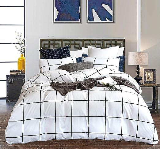Amazon Com Clothknow White Grid Duvet Cover Sets Queen Cotton
