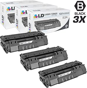 LD Compatible Toner Cartridge Replacement for HP 53A Q7553A (Black, 3-Pack)