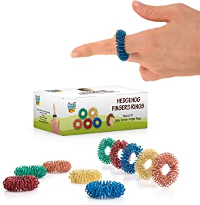 Stress Relief Fidget Sensory Toys Set –10 Small Quiet Metal Antistress Fingers Rings For Men, Women, Adults, Teens & 5+ Children – Ideal For People With OCD, ADHD, ADD & Autism Sensory Desk Games