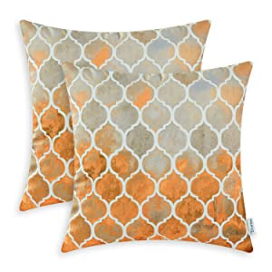 CaliTime Pack of 2 Cozy Throw Pillow Cases Covers for Couch Bed Sofa Manual Hand Painted Colorful Geometric Trellis Chain Print 16 X 16 Inches Main Grey Orange