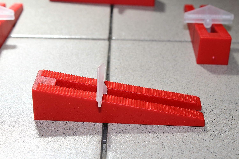 KABOUFIX Fliesen Nivelliersystem Komplettset 1.500 Laschen 500 Keile Metallzange f/ür Bodenfliesen GRATIS Gummihammer