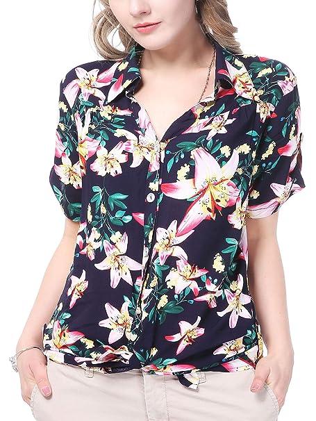 NASHALYLY Flor Femenina Camisa, Camisa Mujer Manga Corta Casual Tropical Estilo Hawaiano(EU48)