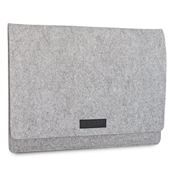 KANVASA Funda Ordenador 15-15.6 Pulgadas Fieltro Gris - Bolso Notebook Portatil Premium Logo Marca en Piel Negro - Estuche para Samsung ASUS Acer DELL ...