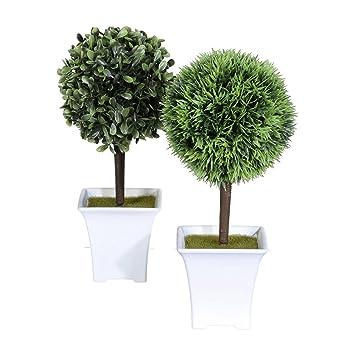 wohnfuehlidee Kunstpflanzen-Mini-Box Kugel-Baum 2er Set, Farbe grün ...