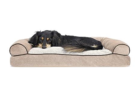 Furhaven Pet Faux Fleece U0026 Chenille Soft Woven Pillow Sofa Pet Bed, Medium,  Cream