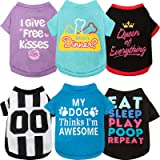 6 Pieces Pet Breathable Shirts Letter Printed Puppy Apparel Christmas Dog Vest Halloween Dog Clothing Cotton Dog Apparel…