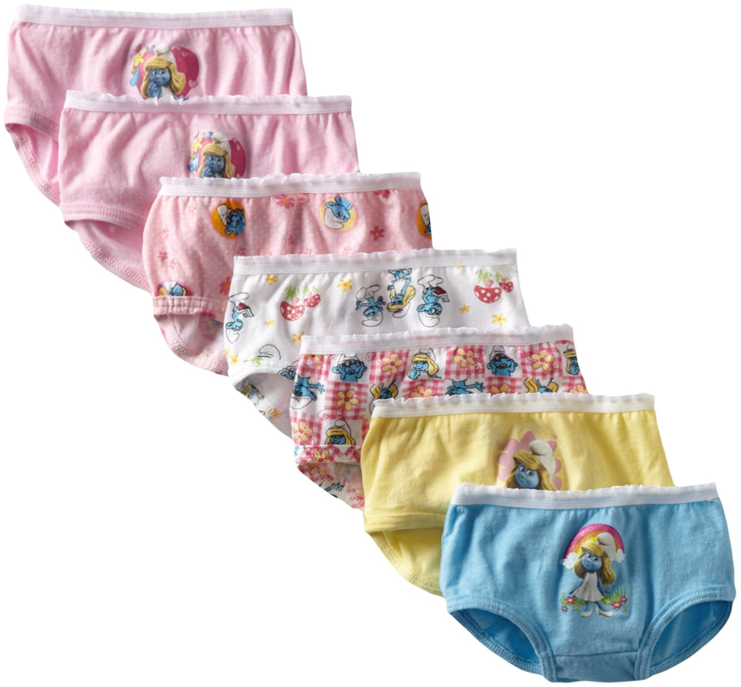 Pack of 7 Fruit of the Loom Little Girls  Juvenile Funpals  Smurfs Panty