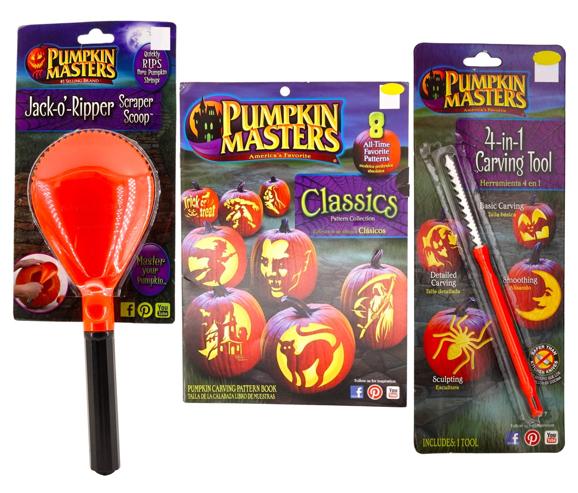 Jack-O-Lantern Complete Carving Kit (3 Pieces - Classics Pattern Collection Book, 4-in-1 Carving Tool, Jack-o-Ripper Scraper Scoop) Halloween Pumpkin by Pumpkin Masters
