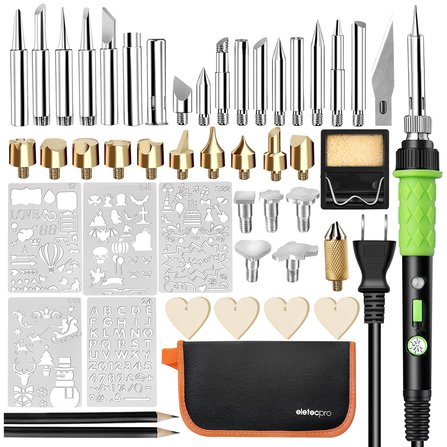 EletecPro Wood Burning Kit,46PCS Professional Pyrography Pen Set 60W/110V Temperature Adjustable On-Off Switch WoodBurner Soldering Iron Tool,5 Stencils+32 Tips,2 Pencils+Carry Case (46pcs Set)