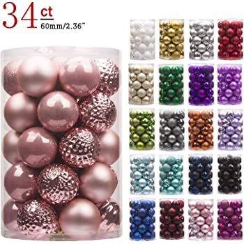 ball ornaments shatterproof christmas decorations tree balls for holiday wedding party decoration tree ornaments hooks included 236 60mm rose gold