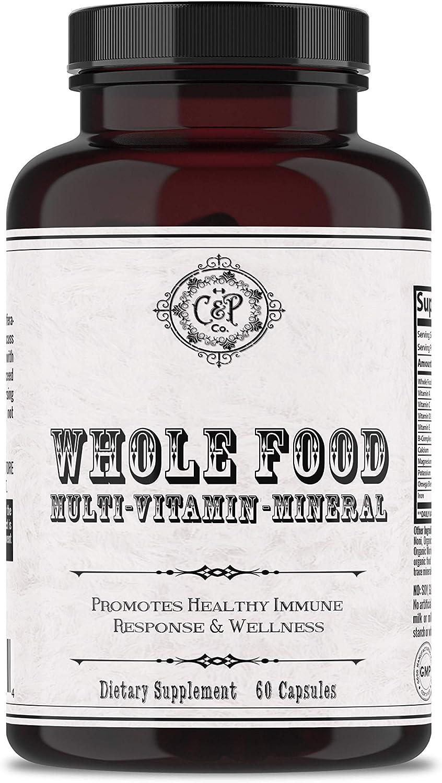 Whole Food Multivitamin for Women & Men   Multivitamin Mineral Blend w/ Whole Fruits & Veggies, Folic Acid, Iron & Zinc   Vegan   Caffeine-Free   Non-GMO   Promotes Healthy Immune Response & Wellness