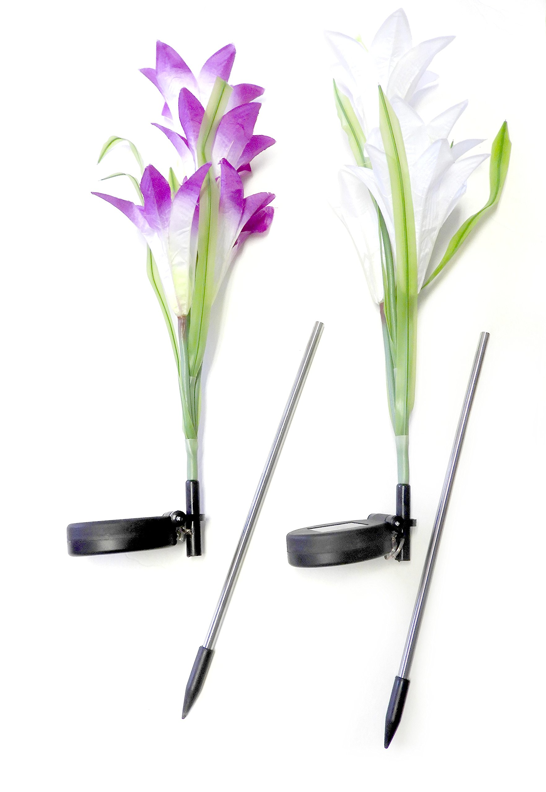 DINY Home & Style Outdoor Solar Flower Garden Stake Lights (2 Pack) Garden Lilly Flowers Multi Color LED Light Changing White and Purple Indoor-Outdoor