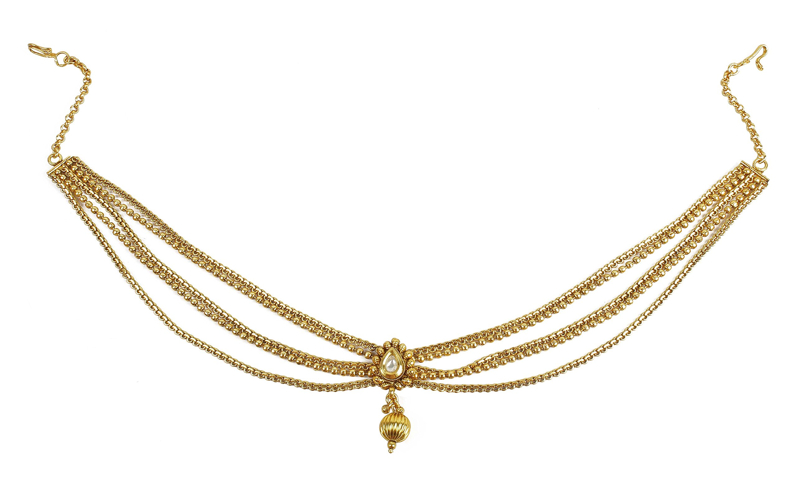 MUCH-MORE Awesome Style Stunning Gold Plated Indian Matha Patti Head Partywear Jewelry For Women (44)