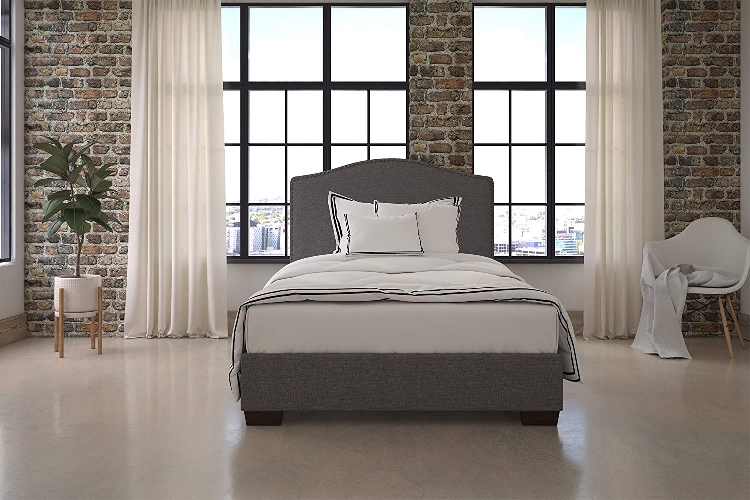 Amazon Com Dhp Gavin Upholstered Bed With Nailhead Trim And Wood Slat Support System Full Size Grey Linen Furniture Decor