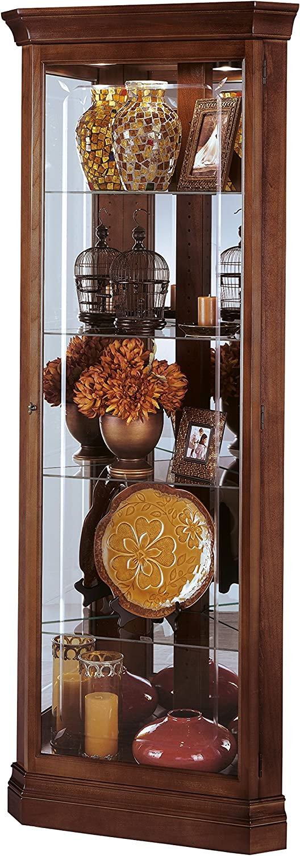 Howard Miller Brown Corner Curio Cabinet 543-037 Windsor Cherry Glass Case with Light