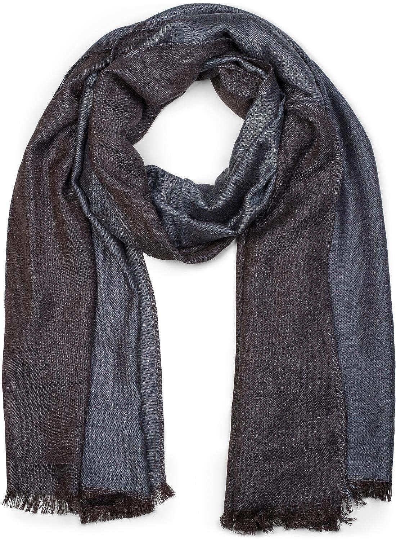 styleBREAKER Sciarpa morbida a 2 colori con frange, sciarpa invernale, stola, foulard, unisex 01017087 colore:Blu-Blu scuro