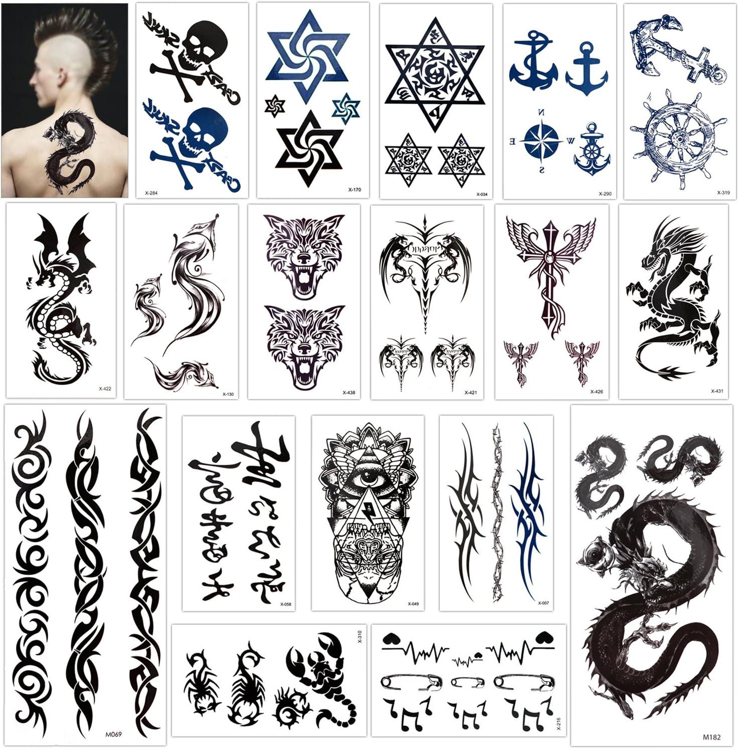 Konsait Temporary Tattoo for Adults Kids Women Men (18 Sheets), Temporary Tattoo Stickers Paper Kit Fake Tattoo Body Sticker Cover Up Set,Dragon Eye Heartbeat Tiger Vine Scorpion Graphic Skull