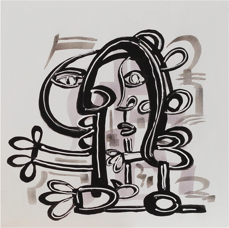 Angie Decoration Hombre Cubistas Cuadro, Acrílico, Negro, 70 x 70 cm