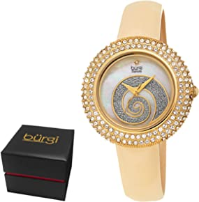 Burgi Women's BUR209 Swarovski Crystal Diamond Accented Sparkle Swirl Mother of Pearl Leather Strap Watch - Packed in a Beautiful Gift Box, Perfect for Mothers Day - …