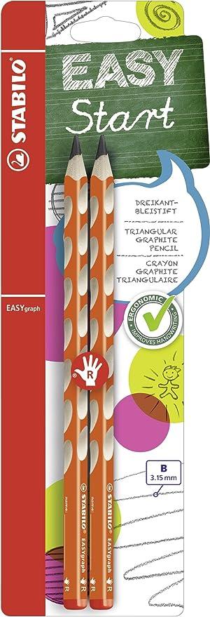 Pack da 2 Matita Ergonomica triangolare Gradazione B STABILO EASYgraph per Destrimani in Arancione