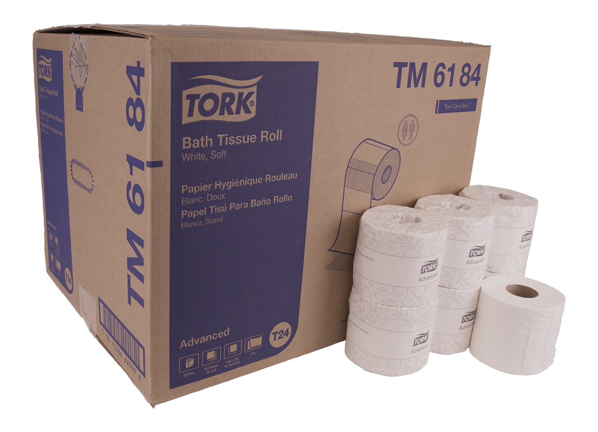 Tork Advanced TM6184 Soft Bath Tissue Roll, 2-Ply, 4.0'' Width x 3.75'' Sheet Length, White, EPA Compliant (Case of 80 Rolls, 550 per Roll, 44,000 Sheets)