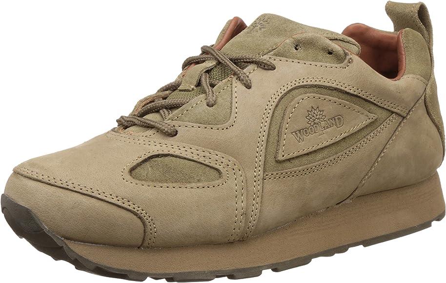 Woodland Men's Khaki Leather Sneakers