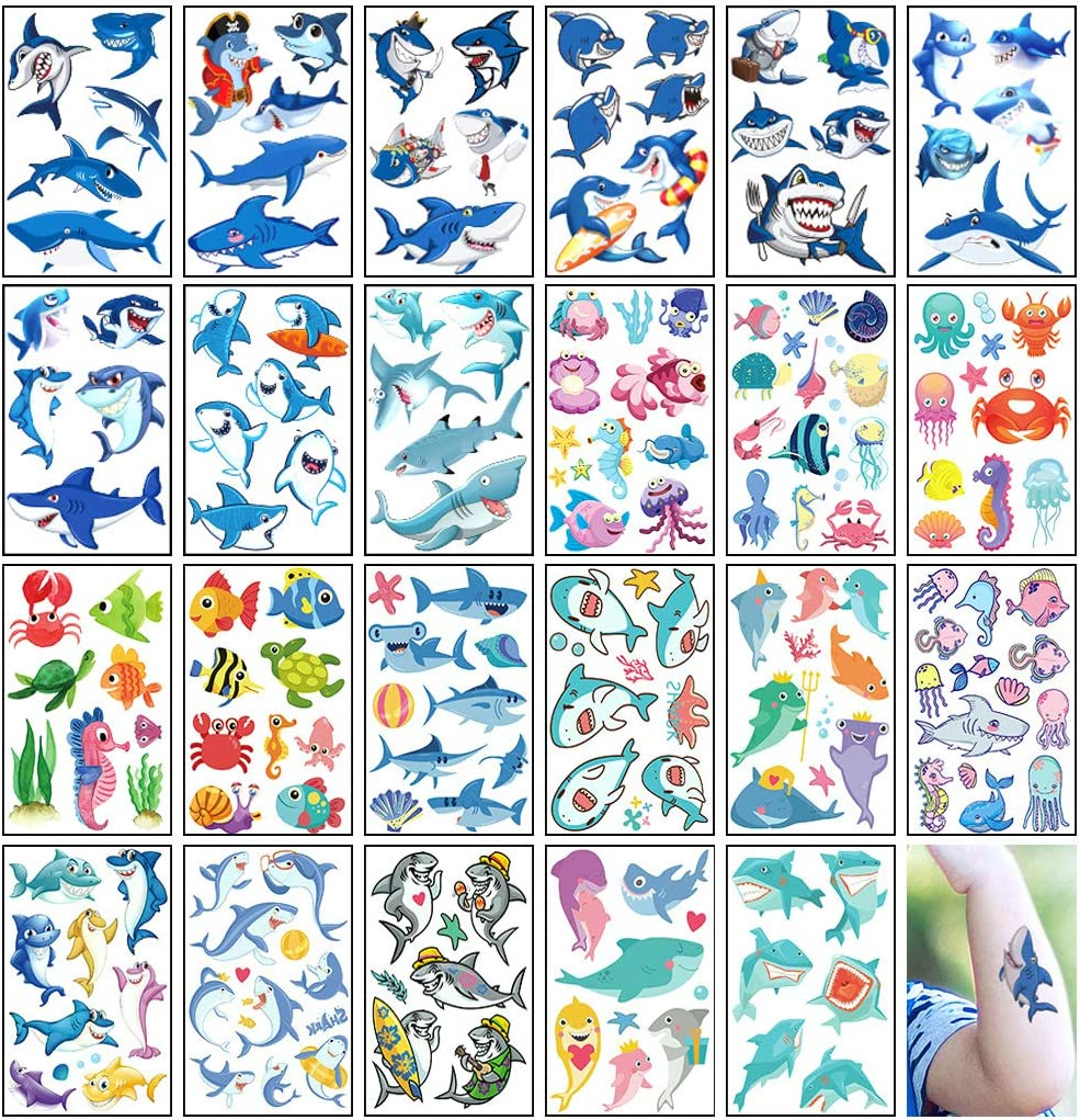 Shark Temporary Tattoos for Kids Ocean Dolphin Whale Fish Tattoo Body Stickers Costume Accessories for Baby Shark Theme Birthday Shower Party Favor Supplies Decorations (150+ Design 23 Sheets)