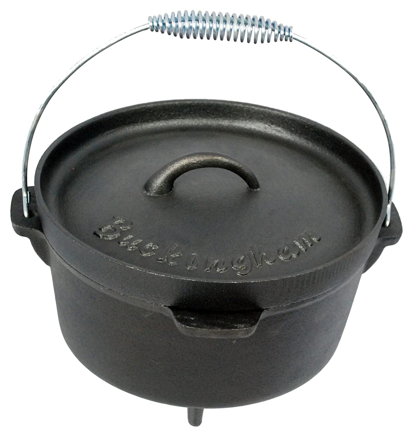 Buckingham 24 cm 4 Litre Cast iron Pre-Seasoned Cast-Iron Camp Dutch Oven, Black B & I International 30071