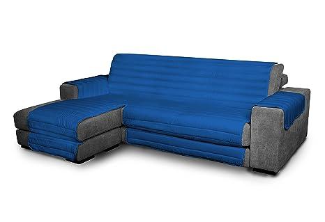 Italian Bed Linen Elegant - Funda Protectora para Sofá Chaise Longue Izquierdo, Microfibra, Azul royal, Medida del asiento 190 cm + cubre brazos ...