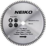 NEIKO 10768A 12' Carbide Saw Blade | 80 Tooth | for Compound Miter Saws