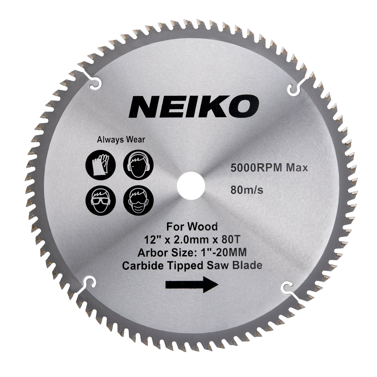 Neiko 10768A 12'' Carbide Tipped Miter Saw Blade | 80 Tooth