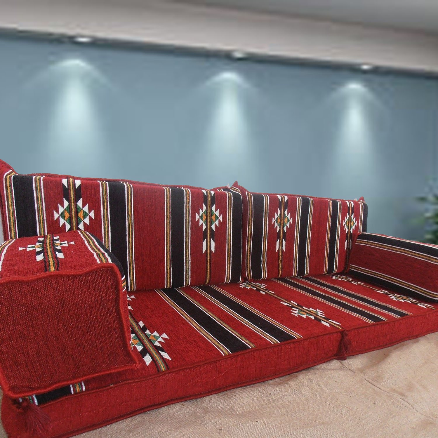 Tribal Floor Seating, Handmade Floor Sofa Set,Arabic Majlis,Arabic Jalsa,Floor Seating Couch,Floor Cushions,Oriental Floor Seating,Hookah Bar Furniture,Living Room Decoration,Kilim Sofa Set,Floor Sofa Bed by Amazon