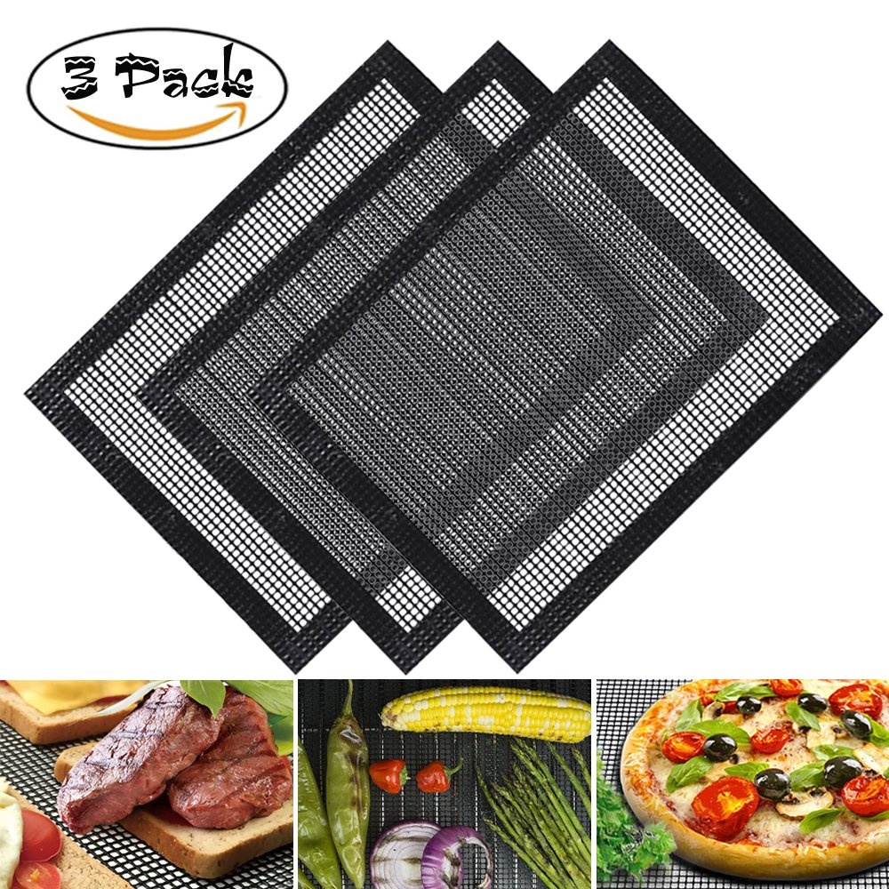 Beshine BBQ Grill Mat Non Stick Set of 3, Barbecue Cooking Mesh Mats for Gas, Charcoal, Oven and Electric Grills - Reusable, Durable, Dishwasher Safe