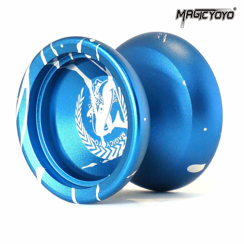 Magic YoYo N12 Shark Honor Unresponsive Yo-yos Set Metal Professional Yo Yo Gift Blue & White